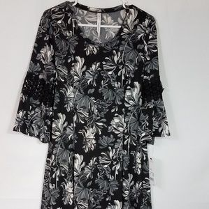 NY COLLECTION  DRESS Black Floral Size L  S54